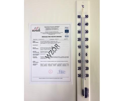 TERMOMETR SZKLANY ŚCIENNY (-30 do 50) °C dz. 0,5 °C, ze świadectwem wzorcowania