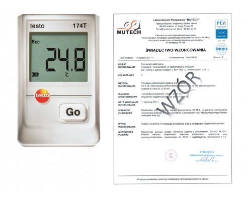 Rejestrator temperatury TESTO 174T ZESTAW ze świadectwem wzorcowania