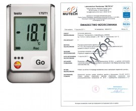 1-kanałowy rejestrator temperatury TESTO 175 T1 ze świadectwem wzorcowania