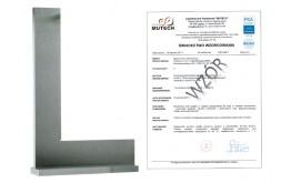 Kątownik ze stopką 100x70 mm ze świadectwem wzorcowania PCA