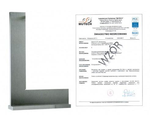 Kątownik z podstawką 200x130 mm ze świadectwem wzorcowania