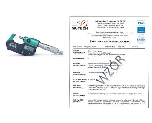 MIKROMETR ELEKTRONICZNY (0-25) mm ze świadectwem wzorcowania PCA
